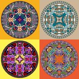 Set decorative design of circle dish template Royalty Free Stock Photography