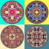 Set decorative design of circle dish template Stock Photos