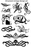 Set of decorative design elements for design. And decor in the vector. Designer labels, curlicues, book dividers, and vintage ornaments, patterns Stock Photos