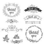 Set of decorative design elements, embellishments, frames, borders. Stock Image