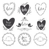 Set of decorative design elements frames, hearts, embellishments. Decorative design elements in  format. Hand written text Stock Images