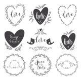 Set of decorative design elements frames, hearts, embellishments Stock Images