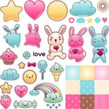 Set of decorative design elements with kawaii