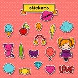 Set of decorative design elements kawaii doodles Royalty Free Stock Images