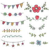 Set of decorative design elements on white background. Birthday, party invitations Stock Images