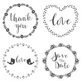Set of decorative design graphic elements, frames, hand written Royalty Free Stock Photography