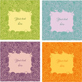 Set of decorative doodle abstract floral vector frames or borders for the text Royalty Free Stock Image