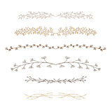 Set of decorative doodle branches. Six different branches and symmetrical reflection. white background Royalty Free Stock Image
