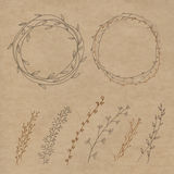 Set of decorative doodle wreaths made of branches. Royalty Free Stock Photos