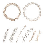 Set of decorative doodle wreaths made of branches Royalty Free Stock Image