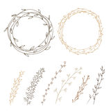 Set of decorative. Doodle wreaths made of branches. two wreaths from plants and six different branches. background white Royalty Free Stock Photo