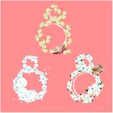 Set of decorative eights for flowers royalty free illustration