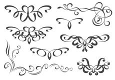 Set of decorative elements. A few line-art floral ornaments vector illustration