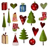 Set of decorative elements. Collage artistic work. Colorful illustration Stock Photos