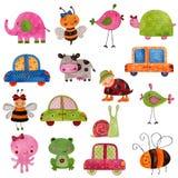Set of decorative elements. Colorful handmade illustration. Acrylic colours on paper Royalty Free Stock Photo