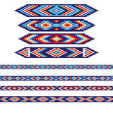 Set of decorative elements and borders in American Indians tribal style. Pattern brushes are included in vector file Stock Photography