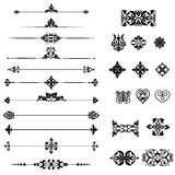 Set of decorative elements. Collection of black decorative borders and dividers elements Stock Image