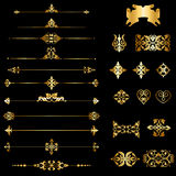 Set of decorative elements. Collection of gold decorative borders and dividers elements on black Royalty Free Stock Image