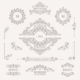 Set of decorative elements. Decorative monograms, borders, frame Stock Images