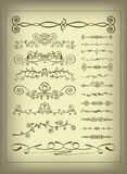 Set of decorative elements. Set of different swirls and elements of decoration Royalty Free Stock Photos