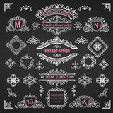 Set of Decorative Elements Dividers Frames Borders Swirls and Scrolls. Stock Photo