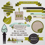 Set of decorative elements for eco friendly design Royalty Free Stock Photos