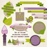 Set of decorative elements for eco friendly design Stock Photos