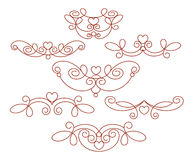 Set of decorative elements with heart. Dividers. Vector . Well built for easy editing. Set of decorative elements with heart. Dividers. Vector illustration vector illustration
