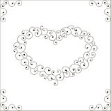 Set of decorative elements. Heart frame and corner. Royalty Free Stock Photos