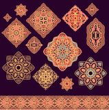 Set of decorative elements in medieval style Stock Image