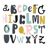Set of decorative english letters. English alphabet vector, typography design. Background with set of decorative latin letters. Poster with colorful latin abc vector illustration