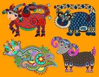 Set of decorative ethnic folk animals in Ukrainian Stock Images
