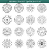 Set of decorative ethnic mandalas. Outline isolates ornament. Vector design with islam, indian, arabic motifs. Stock Image