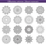 Set of decorative ethnic mandalas. Outline isolates ornament. Vector design with islam, indian, arabic motifs. Set of decorative ethnic mandalas. Outline Stock Images