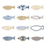 Set of decorative fishes Royalty Free Stock Image