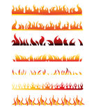 Set of Decorative Flame Fire Design Elements Stock Photo