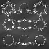 Set of decorative floral design elements Royalty Free Stock Images