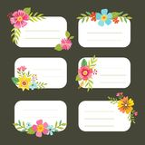 Set of decorative Floral editable tags. Set of editable tags with floral decoration. Can use it for gift stickers and greeting cards. Vector illustration Stock Images