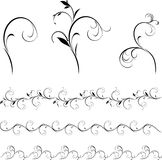 Set of decorative floral elements and borders. For design. Illustration Stock Photo