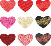 Set of decorative and floral hearts Royalty Free Stock Photos