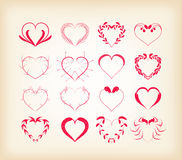 Set of decorative floral hearts Stock Image