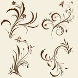 Set of decorative floral ornament Royalty Free Stock Photo