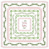 Set of decorative floral square frames Royalty Free Stock Images