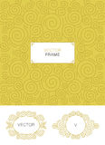 Set of decorative florid frame with copy space for text made in modern line style vector. Royalty Free Stock Photos