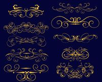 Set of decorative flourish dividers, borders stock illustration