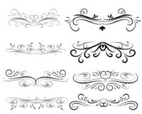 Set of decorative flourish dividers, borders royalty free illustration