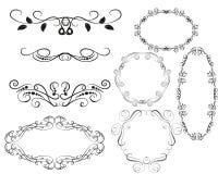 Set of decorative flourish dividers, borders vector illustration