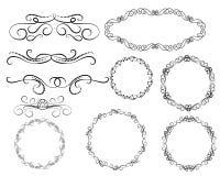 Set of decorative flourish dividers, borders, frames. Set of decorative florish dividers, borders, frames stock illustration