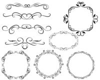 Set of decorative flourish dividers, borders, frames royalty free illustration