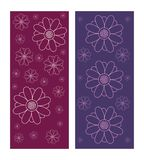 Set of decorative flower texture backgrounds in purple and violet color. S. Pattern vector illustration isolated on white background Stock Photo